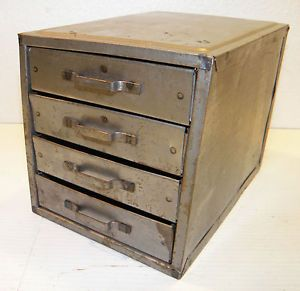 Vintage Used Old Metal Small Parts Tool Industrial Box Filing Cabinet Drawers