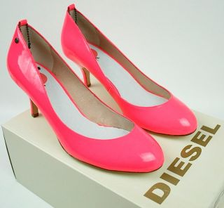 New Diesel Pink Fluo Sexy Kitten Low Medium Heels Women Shoes 5 6 7 7 5 8 5