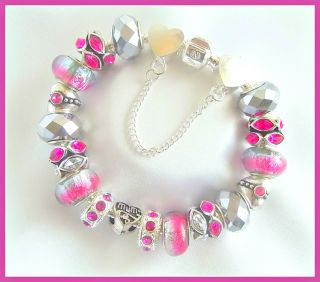 21st 18th 16th 13th Fuschia Pink Silver Charm Bracelet Best Friend Mum Gift Box