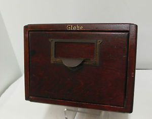 Vintage Dark Wood Single Drawer Library Card Office File Cabinet Globe
