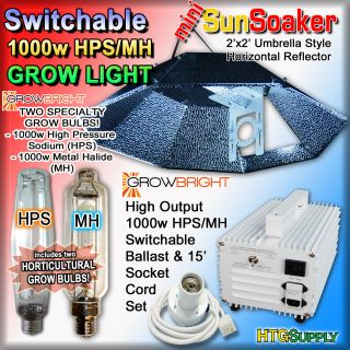 1000 Watt HPS MH Grow Light System w Hood 1000W Ballast