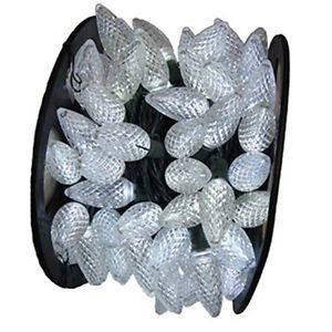 2X 100 Commercial 67' Feet Long Warm White LED C7 Xmas Lights on Spool in Out
