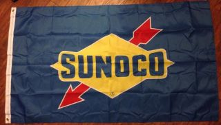Sunoco Blue Flag Sign Banner Service Gas Station Mint Condition 3x5 Feet Long