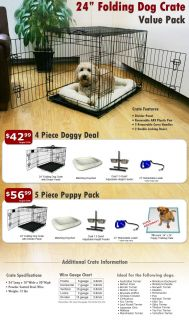 "24"" Folding Dog Crate Value Pack w Bed Adjustable Feeder Leash Puppy Pads"
