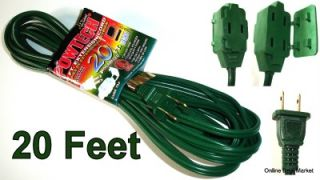 20' Green Extension Power Cord 2 Prong 3 Outlet Long