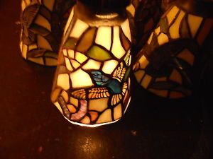 Lot 5 Stained Glass Hanging Lamp Shades Bird Themed