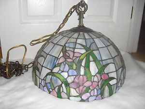 Art Deco Slag Hanging Stained Glass Brass Tiffany Style Lamp Shade