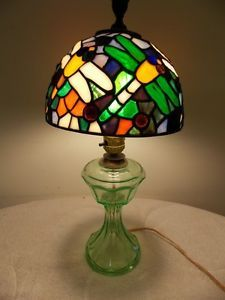 Vaseline Depression Green Glass Oil Lamp Made Electric with Stained Glass Shade