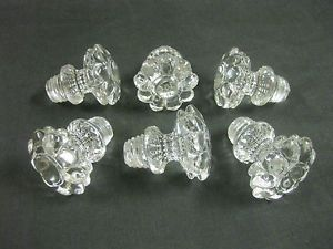 "6 Vintage Antique Glass Cabinet Drawer Pulls Knobs 1 3 4"" Diameter Very Nice"