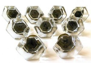 9 Antique Vintage Glass Brass Drawer Pulls Cabinet Dresser Knobs Matching Deco