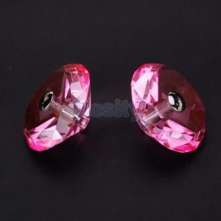 Pink Diamond Shape Crystal Vintage Glass Door Cabinet Knob Pull Home Decor Kit