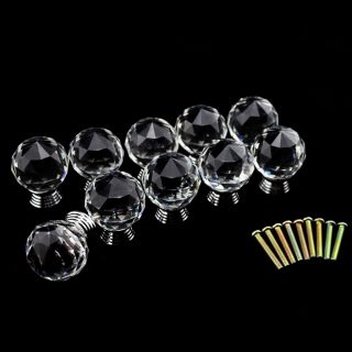 10x Clear Crystal Glass Door Knobs Drawer Cabinet Furniture Kitchen Handles