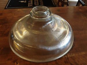 Large Vintage Industrial Holophane Heavy Glass Ribbed Light Lamp Shade Excellent