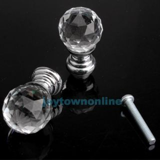 10 Pcs Diam 20mm Round Crystal Glass Knobs Cabinet Pull Drawer Furniture Handle