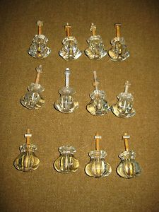 12 Antique Pulls Knobs Handles Dresser Cabinet Drawers Restoration Clear Glass