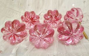 New Set 8 Chic Glass Pink Hardware Knobs Pulls Handles Dresser Shabby Cabinet