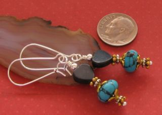 New Blue Turquoise Rondelle Black Agate Silver Gold Plated Earrings Art Nouveau