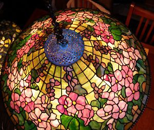 "Tiffany Reproduction Stained Art Glass Lamp Shade Hollyhock 28"" Wide Beaded Edge"