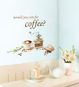 Coffee Beans Adhesive Removable Wall Home Decor Accents Stickers Decals Vinyl