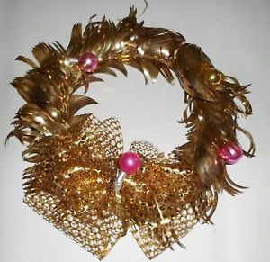 VINTAGE RETRO CHRISTMAS TREE DECOR ALUMINUM FOIL WREATH PINK GOLD ORNAMENTS OLD