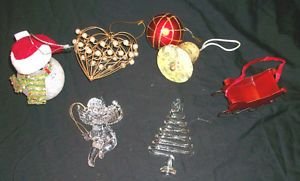 Large Lot Christmas Ornaments Glass Angel Tree Metal Sleigh Bell Heart Beads WOW