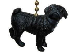 Dog Pug Black Pet Collectible Novelty Home Decor Ceiling Fan Light Pull Chain