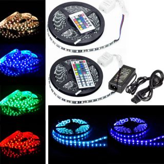 5M 5050 RGB SMD Waterproof 300 LED PCB Black LED Light Strip 24 44Key 5A Power