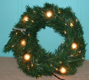 "Christmas Wreaths 24"" Electric Large Light 50 Mini Lights Home Office Window"