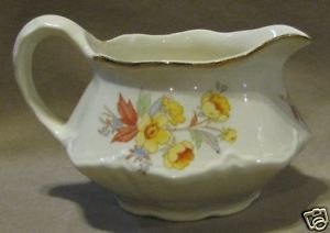 Vintage Homer Laughlin Yellow Flower Creamer Pitcher