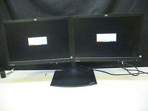 "Lot of 2 HP LE1901WM 19"" Widescreen LCD Monitors with Dual Monitor Stand"