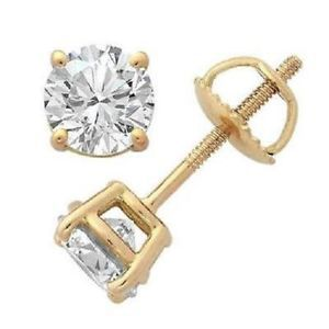 1 01 CTW Real Diamond Jewelry 14kt Yellow Gold Solitaire Stud Earrings Prong Set