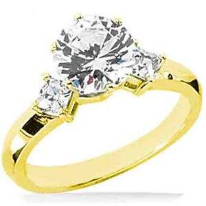1 01 Ct Center Round Diamond Engagement Wedding 14k Yellow Gold Ring 2 Princess