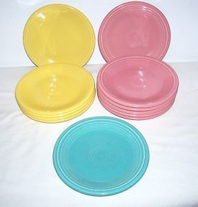 "12 Homer Laughlin Co Fiesta Salad Plates 7 1 4"" Yellow Rose Pink Turq Lead Free"