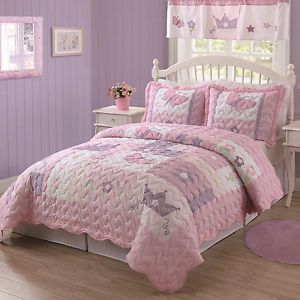 Kids Girls Butterfly Princess Purple Pink Twin Bedding Quilt Sham Set New