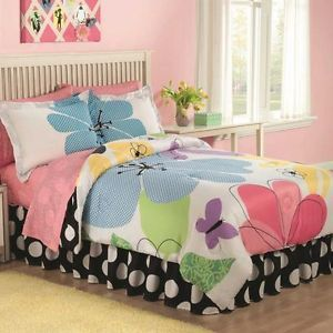 Kids Floral Butterfly Girl Pink Lavender Children's Size Twin Bedding Set