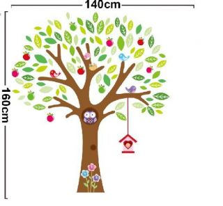Owl Tree Bird Wall Stickers Nursery Decal Kids Baby Room Decor Removable Large