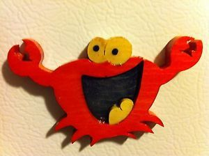 Happy Crab Art Wooden Fridge Magnet Kitchen Decor Artesania