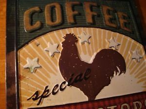 Red Rooster Coffee Cafe Shop Country Kitchen Decor Embossed Wall Plaque Sign New