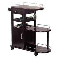 "New Winsome Wood Wine Bar Kitchen Cart Glass Rack Cabinet Drawer 36"" High"