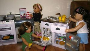 "18"" American Girl Doll Furniture Kitchen Dishwasher Fridge Sink Food Dishes Cups"