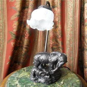 Art Deco Bronze Elephant Table Lamps Antique Shade Galle Lamp