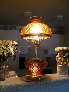 "Vintage Fenton Quilt Amber Glass 3 Way Table Lamp Light Brass Base 10"" Shade"