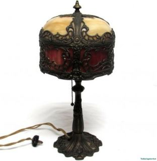 Vintage Cast Brass Iris Base Slag Glass Panel Shade Table Lamp Art Nouveau