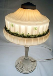 Antique Table Lamp Hand Painted Glass Shade Metal Base Vintage Light Fixture Old