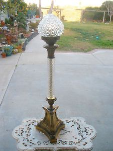 Vintage Table Lamp Glass Torch Shape Brass Base Paw Feet Draped GLS Shade