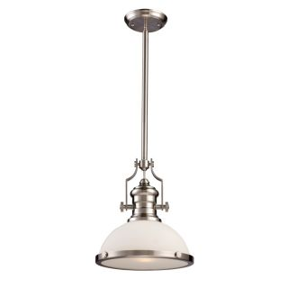Landmark 1 Light Nautical Pendant Lighting Fixture Brushed Nickel White Glass
