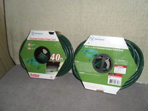 2 40' Foot ft Outdoor Green Extension Power Cords 3 Prong Outlet Westinghouse