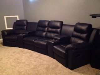 4 Reclining Black Leather Theatre Seats