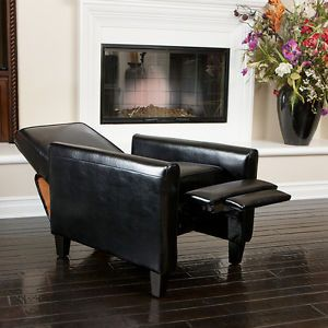 Elegant Modern Design Black Leather Recliner Club Chair