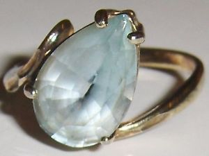 Vintage Vermeil 925 Silver Pear Shaped Prong Set Blue Topaz Ring Size 8